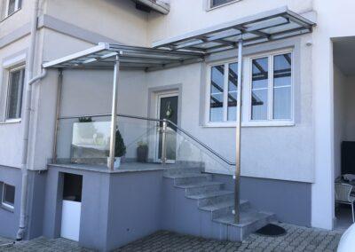 Schlosserei Strodl Vordach aus Edelstahl